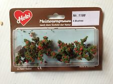 "Heki 1188, 4  Fruit Bushes w/Red Fruit, 1 1/2"" Tall,  New Mint In Box"