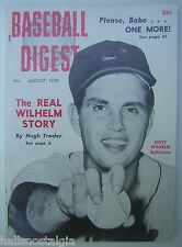 August, 1959 Baseball Digest with Hoyt Wilhelm, Baltimore Orioles cover