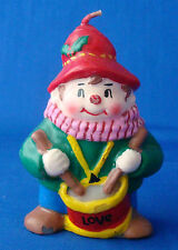 "Christmas real wax candle cute little drummer boy message LOVE 3½"" tall"