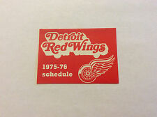Vintage 1975-76 NHL Detroit Red Wings Hockey Pocket Schedule Original