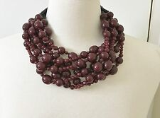Spectacular Angela Caputi Multi Strands Burgundy Resin Beads Statement Necklace