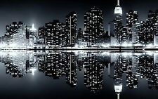 NEW YORK NIGHT - BLACK & WHITE Cityscape Long Wall Canvas Print 20x40 Inch