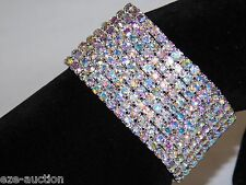 9 ROWS BRIDAL AB AURORA BOREALIS RHINESTONE CRYSTAL STRETCH BRACELETS BANGLE