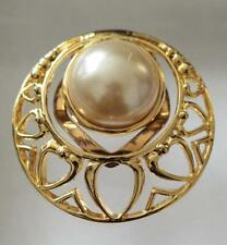gold tone hollow heart surround faux mother of pearl centre scarf clip ring