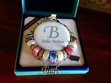 Bella Perlina Charm Bead Bracelet (Like Padora) - Pink Purple Faith Angel - NIB