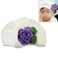Newborn Baby Girl Infant Flower Crochet Beret Hat Toddler Clothing Accessory