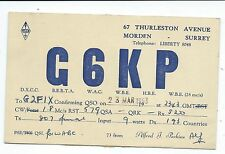 SURREY - MORDEN, 1953 QSL Radio Transmission Confirmation Card  G6KP