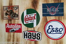 US V8 Car Ratrod Retro Oldschool Sticker Set Esso Hays Castrol Aufkleber 0162