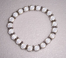 White Miracle Bead Stretch  Bracelet with Spacers Fashion Jools Handmade
