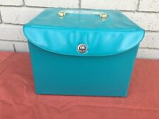 Retro Mid Century Modern Turquoise vinyl Square Pattern Record holder Suitcase