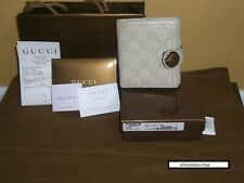 NEW MYSTIC WHITE GUCCI GUCCISSIMA HYSTERIA LEATHER BIFOLD FRENCH FLAP WALLET