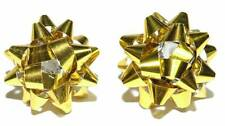 ADORABLE BRIGHT GOLD CHRISTMAS BOWS STUD EARRINGS (H328)
