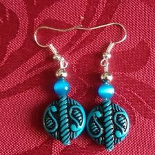 Acrylic aztec bead earrings, silver plated, iridescent beads, unusual (333)