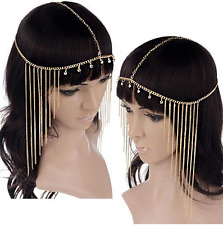 Gold Rhinestones egyptian goddess Hair Head Chain headdress Headpiece Headband