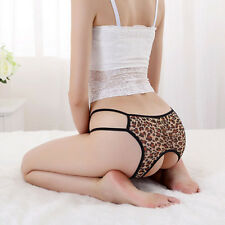 Crotchless G-String Briefs Thong Lingerie Knickers Panties Underwear leopard