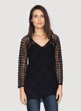 """Johnny Was 4Love and Liberty """"Raja"""" silk tunic with crochet sleeves NWT S $236.0"""
