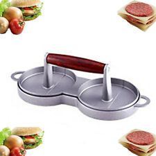 Kitchen Mold Aluminum Double Burger Press Hamburger Meat Grill Patty Maker RI