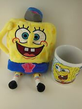 "2 SpongeBob Items an 11"" Plush  and a Mug ( Pants Have initials  HM  on them)"