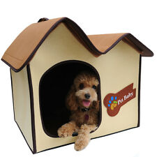 Dog Cat Pet Colourful Polar Fleece Indoor Foldable Roof House Bed Zipper Connect