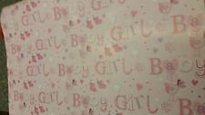 Lovely Pink Baby Girl Wrapping Paper/Gift Wrap With 2 Pink Tags-New Born Wrap