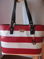 NEW ST JOHN KNIT RED & WHITE CREAM SAFFIANO LEATHER TOTE OR SHOULDER BAG LARGE