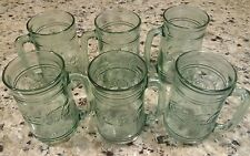 Vintage Lot of 6 Green Glass 16 oz. Coca Cola Mugs / Steins with Raised Logo