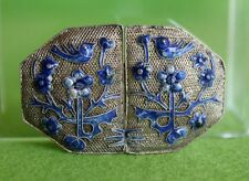Antique Chinese Export China Silver Blue Enamel Flowers Filigree Belt Buckle