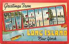 "RIVERHEAD LI NY ""GREETINGS FROM"" LARGE LETTERS LINEN POSTCARD"