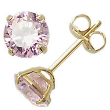 9ct Gold October Birthstone Stud Earrings Pink Tourmaline Coloured Jewellery