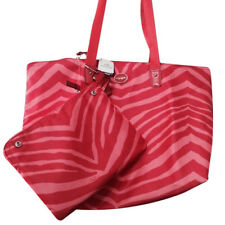 NWT Coach Getaway Signature 2 Pc Nylon Weekender Tote Beach Bag Orange Zebra