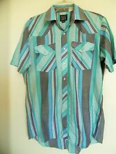 VINTAGE* ROCK CREEK RANCH Gray/Blue/Green  Pearl Snap Western Shirt Sz 15  1/2