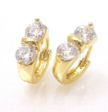 14K Yellow Gold Plated Birthday CZ Cubic Zirconia Crystal Small Hoops Earrings