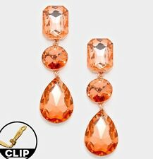"3"" Long Big Clip On Champagne Peach Gold Austrian Crystal Formal Earrings"