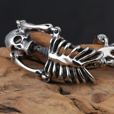 316L Stainless steel skeleton Skull Bracelet Biker Chain Men Bangle Punk Jewelry