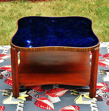 Vintage Art Deco Cobalt Blue Glass Mirror Wood Large Square Coffee Table w Shelf