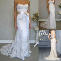 Vintage White Lace Wedding Dresses Bridal Gown Stock Size 6 8 10 12 14 16