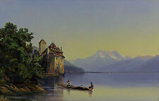 "Marc Dunant sign. feinstes Aquarell  ""Genfer See - Schloss Chillon - Mont Blanc"""