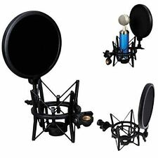 Microphone Mic Audio Pro Shock Mount With Integrated Pop Shield Filter Screen 2Y