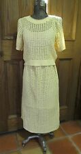 VINTAGE 1930's YELLOW CROCHET SWEATER DRESS 2 PC OUTFIT ART DECO L
