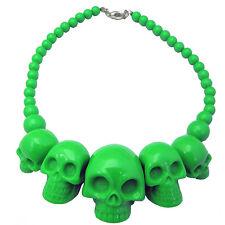 KREEPSVILLE 666 SKULL COLLECTION GREEN NECKLACE PUNK GOTH HALLOWEEN HORROR CHARM