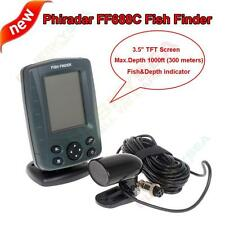 "Phiradar FF688C 3.5"" LCD 1000ft Boat Sonar Fish Finder Fish&Depth Audible Alarm"