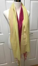 Women's Pink & Yellow Gradient Color Cashmere Pashmina Fringed Scarf. New