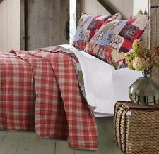 RUSTIC LODGE Full Queen QUILT SET: RED PLAID REVERSIBLE WESTERN CABIN BEAR MOOSE