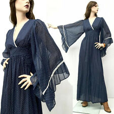 RARE Vintage 70s Boho Hippie Dress Wedding Blue Bell Peasant Renfaire Maxi S/M