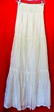 LAUNDRY BY DESIGN Womens Off White Boho Peasant Eyelet Embroidered Long Dress S