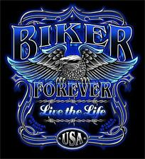 BIKER FOREVER LIVE THE LIFE TEE SHIRT SIZE XXL adult T273 tshirt NEW mens womens