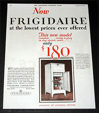 1927 OLD MAGAZINE PRINT AD, FRIGIDAIRE REFRIGERATORS, LOWEST PRICE EVER, ART!