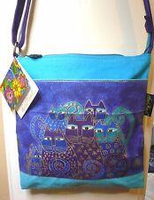 """Laurel Burch """"Indigo Cats"""" #LB418 Cat Crossbody Canvas Hand Bag Purse NEW"""