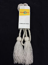 White Beaded  Decorative Tiebacks for Curtains, Voiles etc