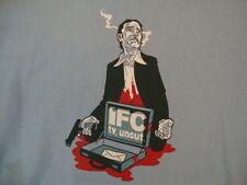 """Threadless IFC """"TV, uncut"""" Gunshot Blood Suitcase Light Blue T Shirt S"""